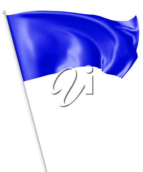 Blue flag on flagpole flying and waving in the wind isolated on white, 3d illustration