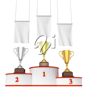Sports winning, championship and competition success concept - three winners trophy cups on round sports pedestal, white winners podium with red stairs and blank white flags, 3d illustration, closeup