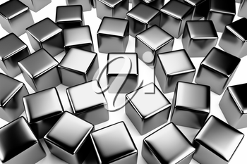 Uniqueness and identity concept: steel cube surrounded by a crowd of the same scattered steel cubes