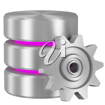Data processing concept icon: Database with magenta elements and metal cogwheel isolated on white background