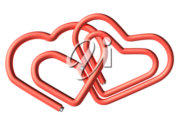 Couple of red connected paperclips in the heart shape isolated on white background