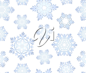 Blue icy decorative snowflakes seamless background