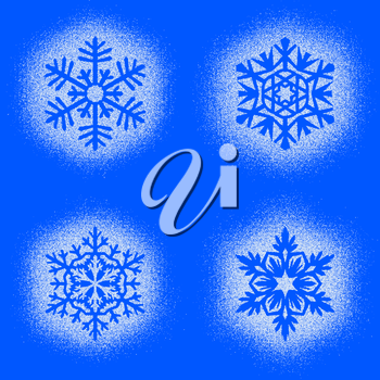 Set of snow marks of snowflakes isolated on blue background