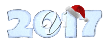 Happy New Year creative holiday concept - 2017 new year text sign written with numbers made of clear blue ice with Santa Claus fluffy red hat, New Year 2017 winter symbol 3d illustration isolated on w
