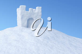 White toy show tower on the uneven snow surface under blue sky three-dimensional illustration