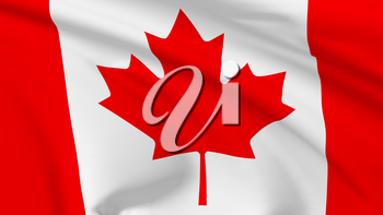 National flag of Canada flying in the wind, 3d illustration closeup view