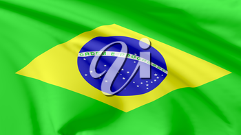 National flag of Federative Republic of Brazil flying in the wind, 3d illustration closeup view