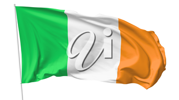 National flag of Ireland on flagpole flying in the wind isolated on white, 3d illustration