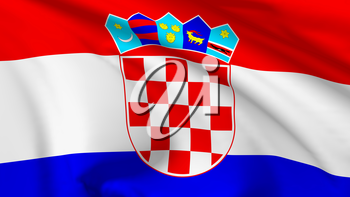National flag of Republic of Croatia flying in the wind, 3d illustration closeup view