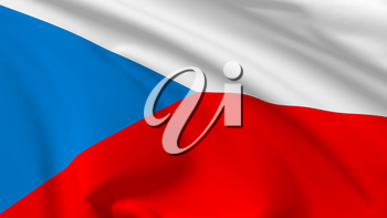 National flag of Czech Republic flying in the wind, 3d illustration closeup view