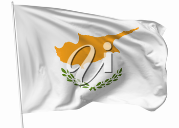 National flag of Republic of Cyprus on flagpole flying in the wind isolated on white, 3d illustration