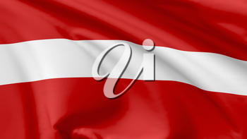 National flag of Republic of Latvia flying in the wind, 3d illustration closeup view