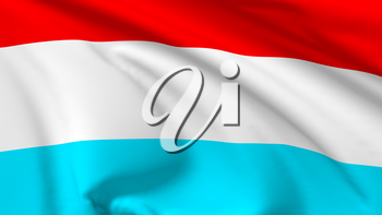 National flag of Grand Duchy of Luxembourg flying in the wind, 3d illustration closeup view