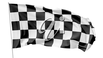 Checkered flag on flagpole flying in the wind isolated on white, 3d illustration