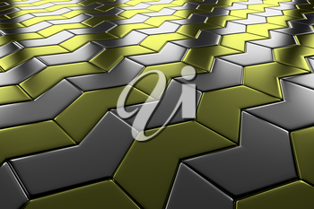Steel with gold arrow blocks flooring diagonal perspective view shiny abstract industrial background