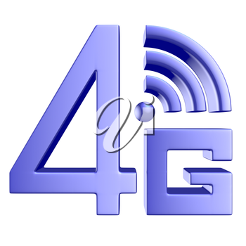 Mobile high speed data connection telecommunication concept: blue abstract 4G LTE wireless communication technology icon symbol isolated on white background