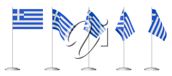 Small table flag of Greece on stand isolated on white, 3d illustrations set