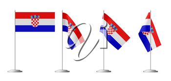 Small table flag of Republic of Croatia on stand isolated on white, 3d illustrations set