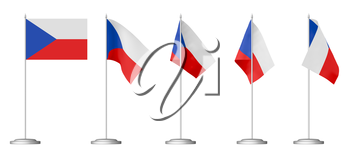 Small table flag of Czech Republic on stand isolated on white, 3d illustrations set