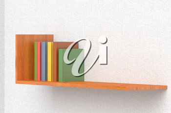 Colored books on wooden bookshelf on the wall with white wallpaper 3D illustration
