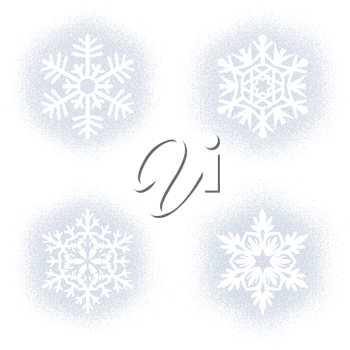Set of snow marks of snowflakes isolated on white background