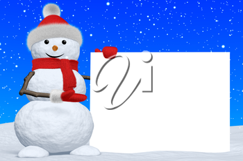 Cheerful snowman shows blank white board in red fluffy hat, scarf and mittens on snow under snowfall, 3d illustration