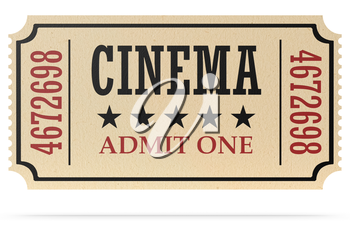Vintage retro cinema creative concept: retro vintage cinema admit one ticket made of yellow textured paper isolated on white with shadow, closeup view, 3d illustration