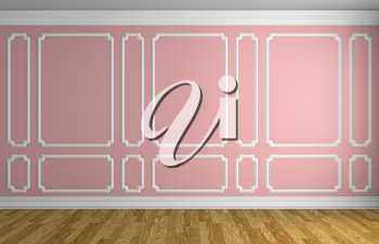Simple classic style interior illustration - pink wall with white decorative frame on the wall in classic style empty room with wooden parquet floor with white baseboard, 3d illustration interior