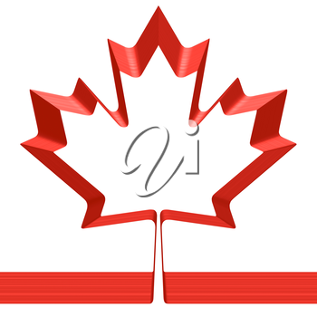 Red ribbon in shape of maple leaf isolated on white background - symbol of Canada and National flag of Canada, 3D illustration