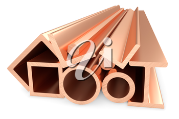 Metallurgical industry non-ferrous industrial products - group of stainless rolled copper metal products (pipes, profiles, bars, girders, balks and armature) on white, industrial 3D illustration.