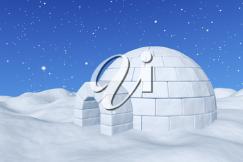 Winter north polar snowy landscape - eskimo house igloo icehouse made with white snow on the surface of snow field under cold north blue sky with snowfall closeup 3d illustration