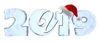 Happy New Year 2019 sign text written with numbers made of clear blue ice with Santa Claus fluffy red hat, winter icy symbol 3d illustration isolated on white