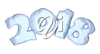 New Year 2018 sign text written with numbers made of ice, Happy New Year 2018 winter icy symbol 3d illustration isolated on white
