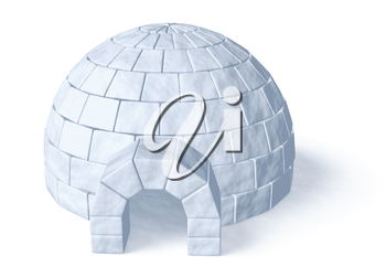 Igloo icehouse isolated on white background three-dimensional illustration