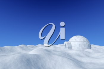 Winter north polar snowy landscape - eskimo house igloo icehouse made with white snow on surface of snow field under cold north blue sky, 3d illustration