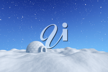 Winter north polar snowy landscape - eskimo house igloo icehouse made with white snow on the surface of snow field under cold north blue sky with snowfall, 3d illustration