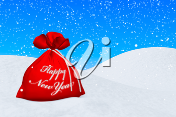 Santa Claus red bag with sign Happy New Year on the white snow under snowfall and blue sky 3d illustration