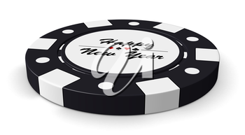 Happy New Year black casino chip with sign on white background 3D illustration