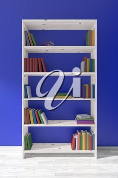 White wooden bookcase on white wooden parquet floor about blue wall with many different books on bookshelves, 3D illustration