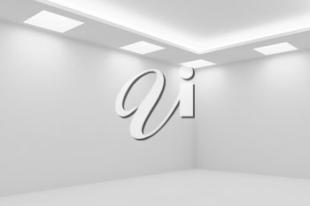 Abstract architecture white room interior - corner of empty white room with white wall, white floor, white ceiling with square ceiling lamps and hidden ceiling lights, 3d illustration