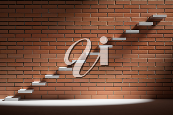 Business rise, forward achievement, progress way, success and hope creative concept - Ascending stairs of rising staircase in dark empty room with red brick wall with light, 3d illustration