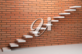 Business rise, forward achievement, progress way, success and hope creative concept - Ascending stairs of rising staircase in empty room with red bricks wall, 3d illustration.