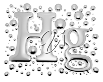 Small shiny mercury (Hg) metal chemical element sign of toxic mercury metal with drops and droplets of toxic mercury liquid isolated on white, 3d illustration