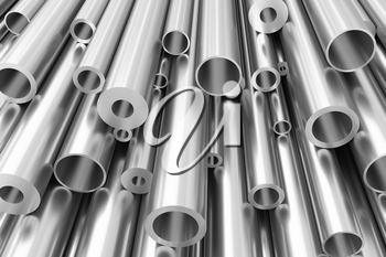 Metallurgical industry production and industrial products abstract illustration - many different various sized stainless metal shiny steel pipes, abstract background, 3D illustration
