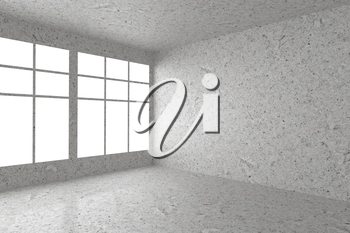 Abstract architecture spotted concrete room interior: empty room corner with dirty spotted concrete walls, concrete floor, concrete ceiling and window with skylight from window, 3d illustration