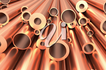 Metallurgical industry production and non-ferrous industrial products abstract illustration - many different various sized stainless metal shiny copper pipes abstract background, 3D illustration