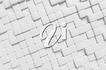 Abstract white graphic wall background made of white cubes, 3d illustration for different conceptual graphic design projects