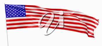 National flag of United States of America with stars and stripes, with flagpole flying and waving in the wind, isolated on white 3d illustration, long flag