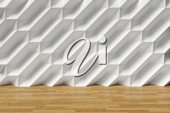Abstract white room wall with futuristic bumpy polygonal geometric surface and brown wood parquet floor 3d illustration
