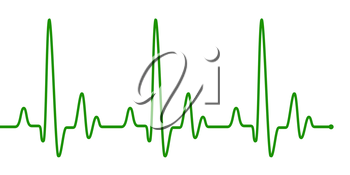 Green heart beat pulse graphic line on white. Healthcare medical sign with heart cardiogram. Cardiology concept pulse rate diagram illustration